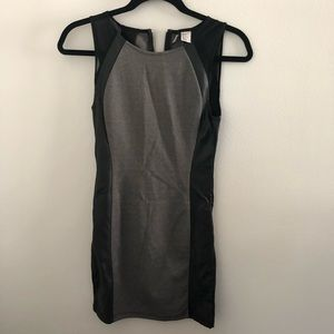 H&M Black Grey Bodycon Dress with Leather - Size 4